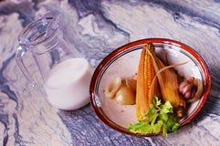 Una prima colazione semplice del paese delle verdure e del latte fotografia stock libera da diritti