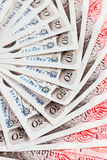 una priorità bassa delle 50 di sterlina banconote Immagini Stock