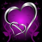 Una priorità bassa di giorno dei biglietti di S. Valentino dei cuori viola Immagine Stock Libera da Diritti