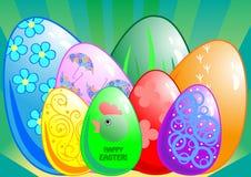 Una priorità bassa di otto uova di Pasqua Immagini Stock