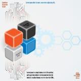 Una progettazione artistica di tre cubi di dimensioni con i circuiti elettronici illustrazione di stock