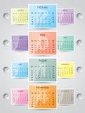 una progettazione di 2014 calendari con le strutture Immagini Stock