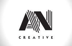 Una progettazione di Logo Letter With Black Lines Linea vettore Illus della lettera Fotografia Stock Libera da Diritti