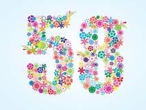 Una progettazione floreale variopinta di 58 numeri di vettore isolata su fondo bianco Carattere floreale di numero cinquantotto illustrazione di stock