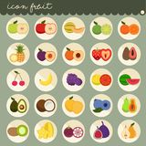 una progettazione piana di base di 25 insiemi, colori delle collezioni di vettore di frutti, insieme dei frutti è mela, la banana illustrazione vettoriale