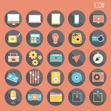 una progettazione piana di base di 25 insiemi, media e smartphone sociale, web ed applicazione mobile, l'altro estratto illustrazione di stock