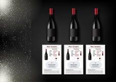 Una progettazione semplice delle bottiglie realistiche di vino e delle carte del vino con le descrizioni e le caratteristiche del Immagine Stock Libera da Diritti