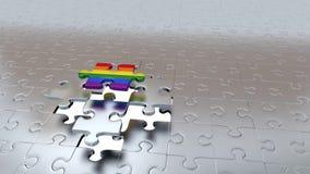Una prova di Grey Puzzle Piece da sfuggire a dall'altro Grey Pieces e da trasformarsi in in arcobaleno royalty illustrazione gratis