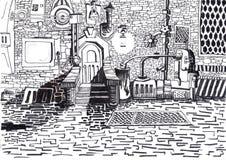 Una puerta de la casa está en la ciudad del futuro. stock de ilustración