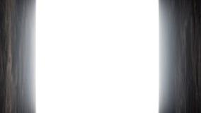 Una puerta de madera vieja se abre y volamos dentro stock de ilustración