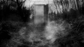 Una puerta misteriosa con neblina almacen de video
