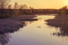 Una puesta del sol amelocotonada Fotografía de archivo libre de regalías