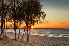 Una puesta del sol anaranjada Foto de archivo