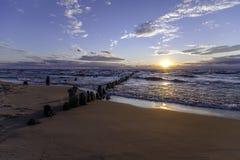 Una puesta del sol hermosa del lago Michigan Imagen de archivo