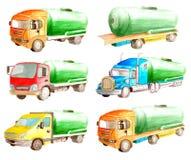 Una raccolta dell'insieme dell'acquerello di un corpo cilindrico verde e un insieme delle opzioni con differenti cabine dei color royalty illustrazione gratis