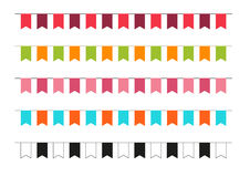 Una raccolta di 5 bandiere variopinte del partito Fotografia Stock