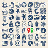 una raccolta di 49 della mano del disegno di scarabocchio icone di web Fotografie Stock