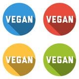 Una raccolta di 4 ha isolato le icone variopinte per il VEGANO illustrazione di stock