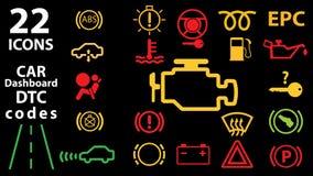 una raccolta di 22 icone degli indicatori del pannello del cruscotto dell'automobile, indicatori verdi rossi gialli Codici di DTC Fotografia Stock