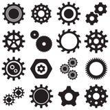 Una raccolta di 16 icone nere degli ingranaggi di vettore Fotografie Stock Libere da Diritti