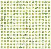 Una raccolta di 256 icone scarabocchiate ecologia Immagine Stock