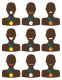 Una raccolta di 3 insiemi dell'icona di metallo ha decorato gli sport afroamericani Fotografie Stock Libere da Diritti