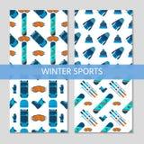Una raccolta di 4 modelli degli sport invernali Immagine Stock