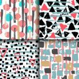 Una raccolta di 4 modelli geometrici senza cuciture disegnati a mano Immagine Stock