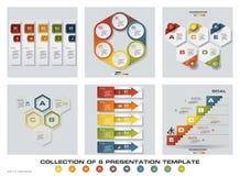Una raccolta di 6 modelli variopinti di presentazione di progettazione EPS10 Insieme delle icone di vettore e di affari di proget Immagini Stock Libere da Diritti