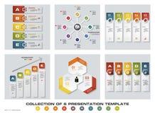 Una raccolta di 6 modelli variopinti di presentazione di progettazione EPS10 Insieme delle icone di vettore e di affari di proget Fotografie Stock