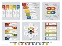 Una raccolta di 6 modelli variopinti di presentazione di progettazione EPS10 Insieme delle icone di vettore e di affari di proget Immagine Stock