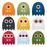 Una raccolta di 9 mostri svegli con lo sguardo differente, isolata su w illustrazione di stock
