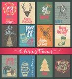 Una raccolta di nove cartoline di Natale con gli elementi disegnati a mano illustrazione vettoriale
