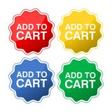 Una raccolta di quattro bottoni colorati con testo aggiunge al carretto illustrazione di stock