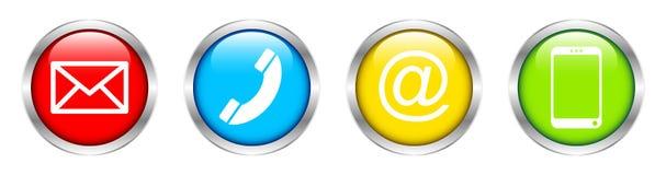 Una raccolta di quattro bottoni contatta l'argento di colore illustrazione di stock