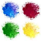 Una raccolta di quattro macchie dell'acquerello blu, rosse, gialle e verdi su fondo bianco fotografia stock