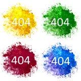 Una raccolta di quattro macchie dell'acquerello blu, rosse, gialle e verdi su fondo bianco immagine stock libera da diritti