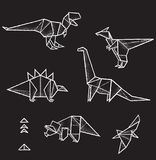 Una raccolta di sei animali di origami di vettore ed elementi disegnati a mano dei triangoli per progettazione Fotografia Stock