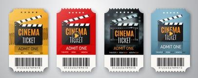 Una raccolta di tre biglietti del cinema isolati su bianco Manifesti o alette di filatoio di film Illustrazione di vettore Fotografia Stock
