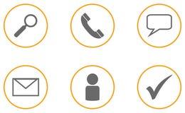 Una raccolta di un grey arancio di 6 icone di affari Fotografie Stock