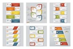 Una raccolta di un modello di 6 progettazioni/disposizione del sito Web o del grafico Fondo di vettore Fotografia Stock
