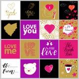 Una raccolta di vettore di dodici biglietti di S. Valentino Immagini Stock Libere da Diritti