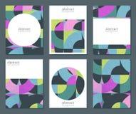 Una raccolta di vettore di sei carte con le forme geometriche variopinte e la struttura di lerciume royalty illustrazione gratis