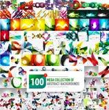 Una raccolta mega enorme di 100 vari ambiti di provenienza astratti illustrazione di stock