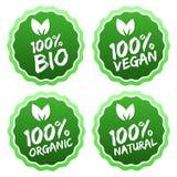 Una raccolta piana dell'etichetta del prodotto biologico 100% Immagine Stock Libera da Diritti