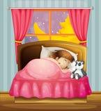 Una ragazza addormentata Immagine Stock