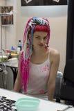 Una ragazza al festival del tatuaggio di St Petersburg Fotografie Stock