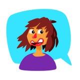 Una ragazza in una bolla comica Vettore Avatar di una donna La ragazza comunica nella chiacchierata Illustrazione nello stile del royalty illustrazione gratis