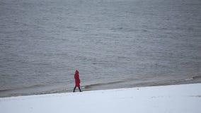 Una ragazza cammina lungo la riva nell'inverno video d archivio