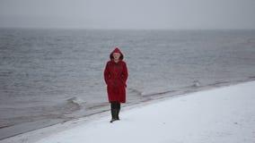 Una ragazza cammina lungo la riva nell'inverno archivi video